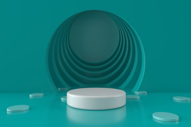 Green circle room background with podium 3d render