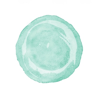 Green circle watercolor painting textured on white.