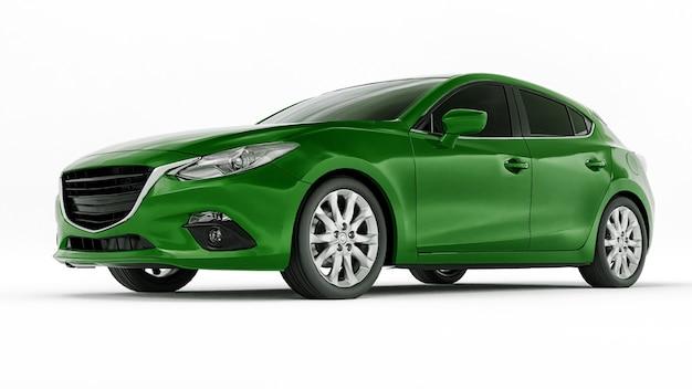 Зеленый городской автомобиль с пустой поверхностью для вашего креативного дизайна 3d иллюстрации