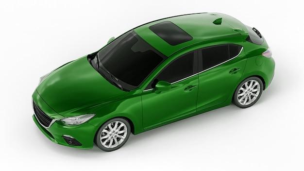 창의적인 디자인을 위한 빈 표면이 있는 녹색 도시 자동차. 3d 그림입니다.