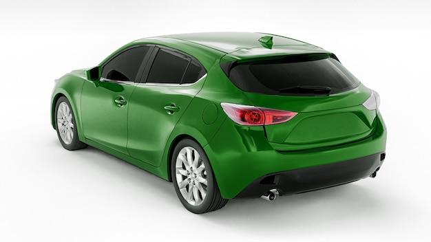 창의적인 디자인 d 일러스트레이션을 위한 빈 표면이 있는 녹색 도시 자동차
