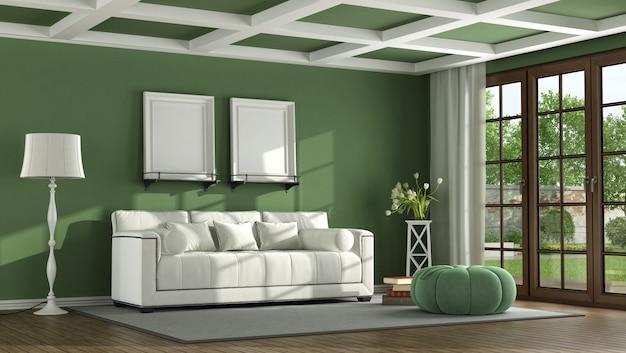 Green classic living room
