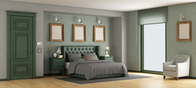 Green classic master bedroom