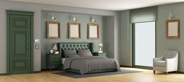 緑の古典的なマスターベッドルーム