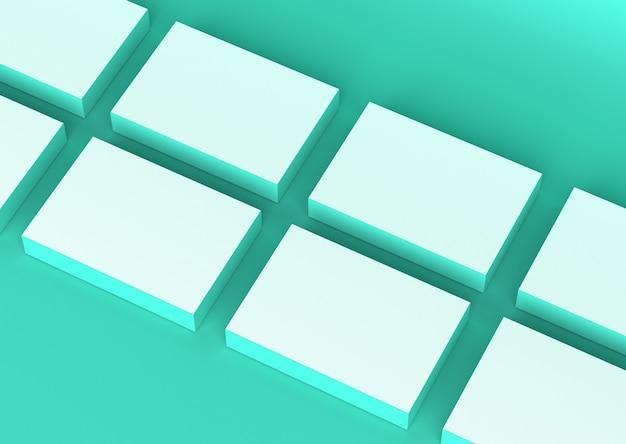 緑のクリアボックスモックアップアイソメレンダリング