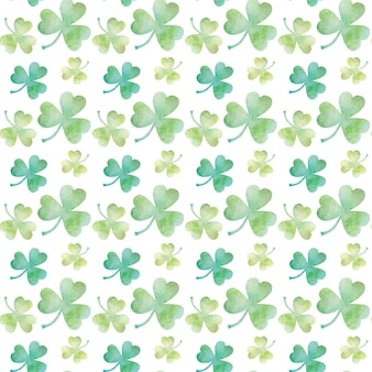 Green clover watercolor seamless pattern