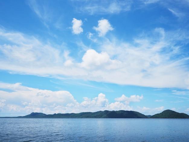Green coast and blue sky on tropical island