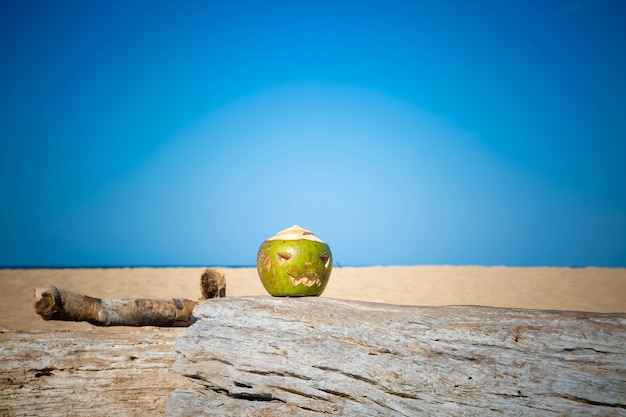Green coconut as a symbol of halloween in the shape of a pumpkin stands a tree on a tropical beach