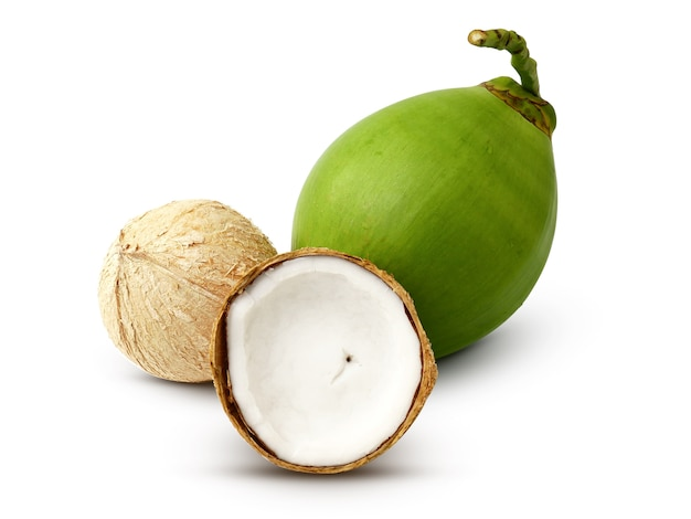 Green coconut fruit isolated on white background
