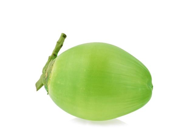 Green coconut fruit on white