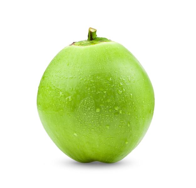 白い背景に分離された緑のココナッツ
