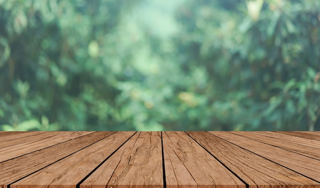 Green color organic farm nature background with aged plain wood table top