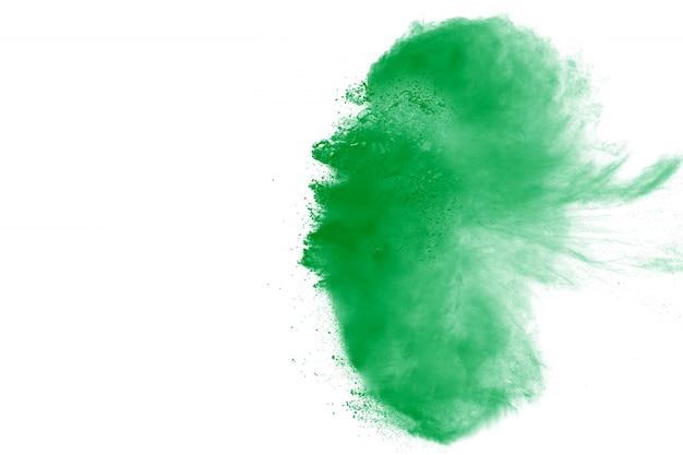 흰색 바탕에 녹색 분말 폭발 구름 배경에 녹색 먼지 스플래시입니다.