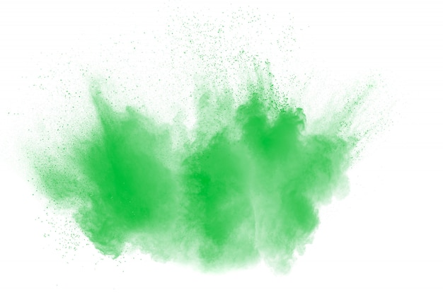 Green color powder explosion cloud