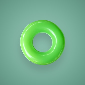 Green color swim rings isolated on beautiful pastel color background, with clipping path.