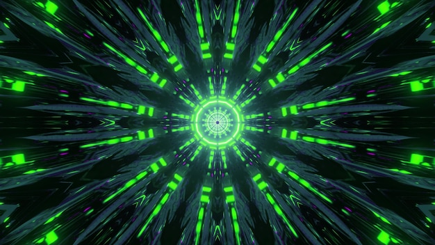 Green colored abstract lines glowing in round shaped effect of reflecting 3d illustration
