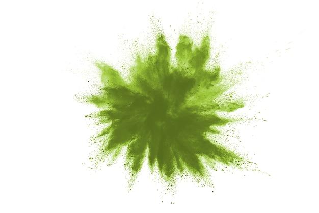 緑の色が白い背景の上に飛び散った。