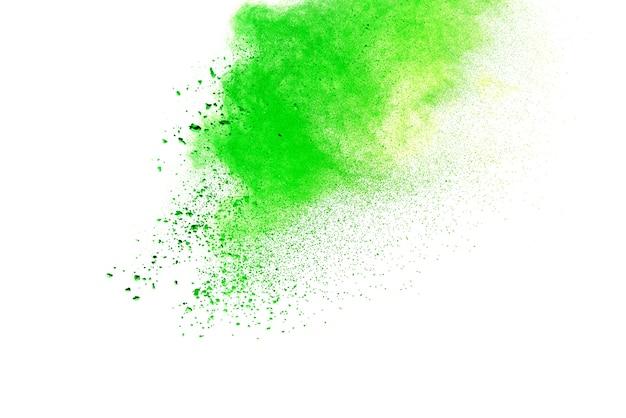 녹색 색깔 흰색 배경 위에 splatted