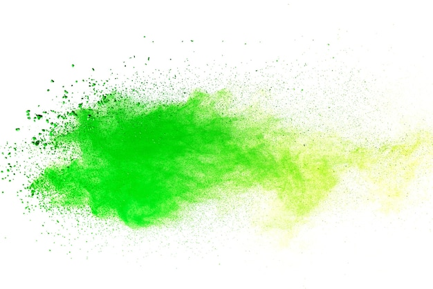 Green colored splatted over white background