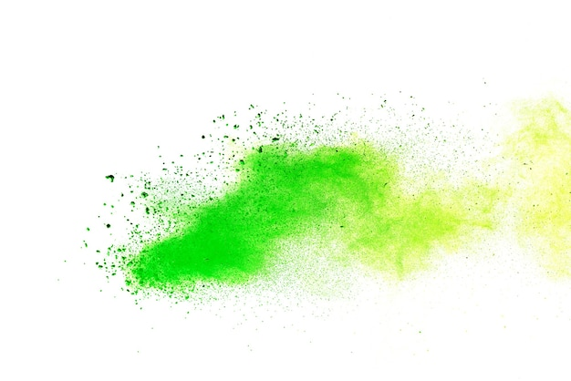 Green colored splatted over white background.
