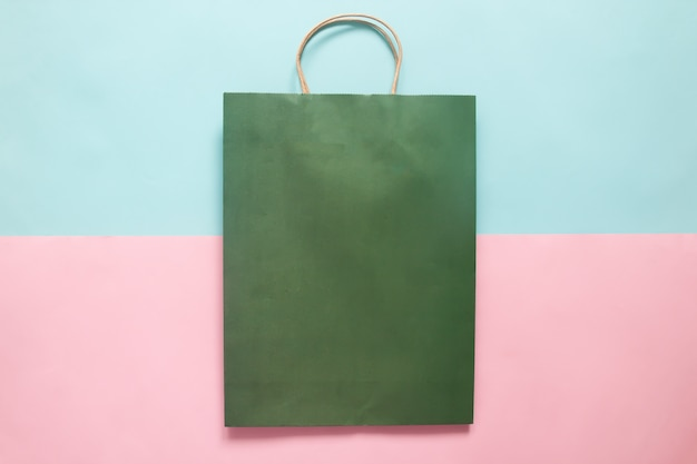 Green colour shopping bag mockup for branding and corporate identity