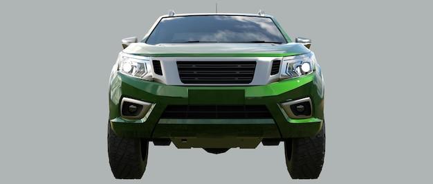 더블 캡 3d 렌더링이 있는 녹색 상업용 차량 배달 트럭