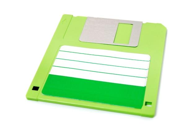 Green computer floppy disk