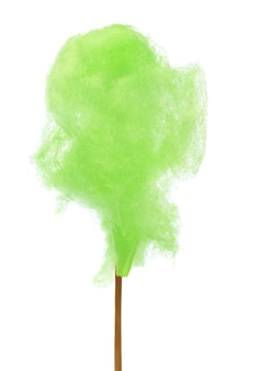 Green cotton candy over white background