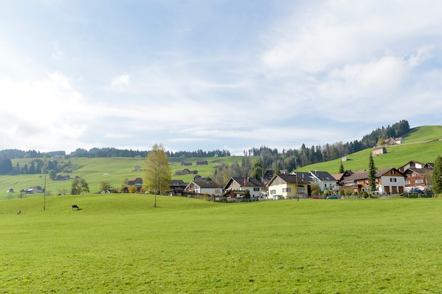 Green countryside village landscape at autumn in switzerland