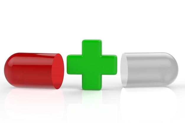 Зеленый крест и капсула таблетки на белом фоне