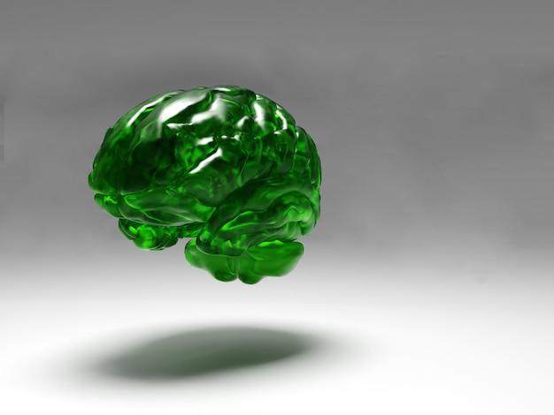 떠 다니는 녹색 크리스탈 뇌