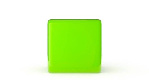 흰색 배경 3d 렌더링 그림에 고립 된 녹색 큐브