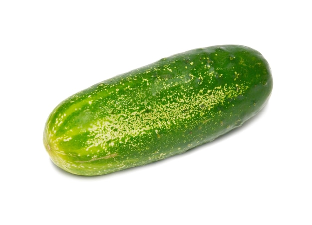 Green cucumber isolated on white.