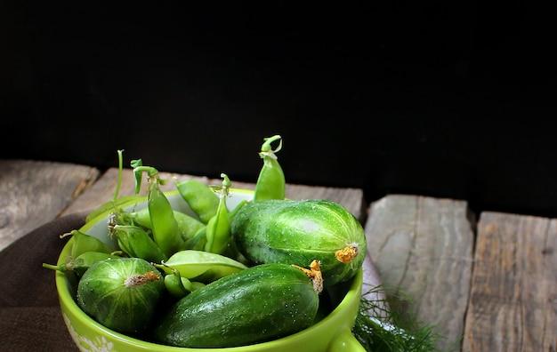 Green cucumber peas