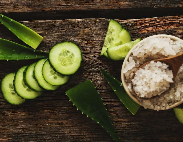 Green cucumber and sea salt