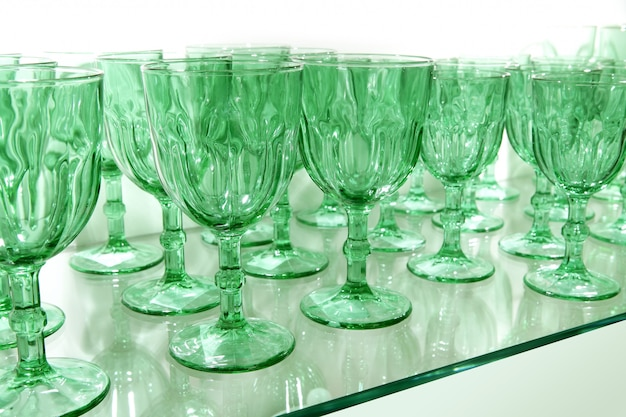 Green cups rows glass crystal kitchenware