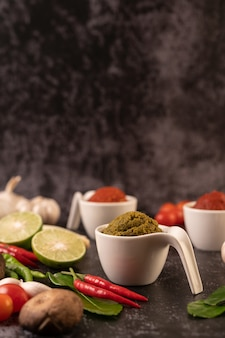 Green curry paste made from chili