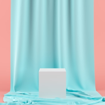 Green curtain with white color geometric shape podium for product.
