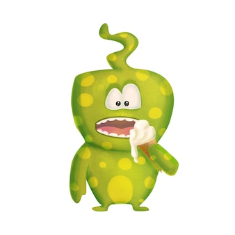 Green cute cartoon funny monster with ice cream on white