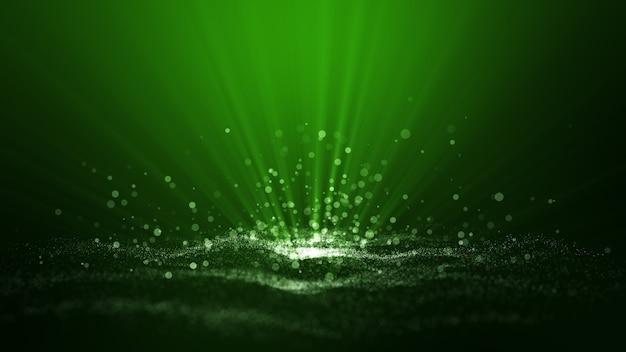 웨이브 입자, 광선 반짝 및 공간 녹색 디지털 추상 배경.