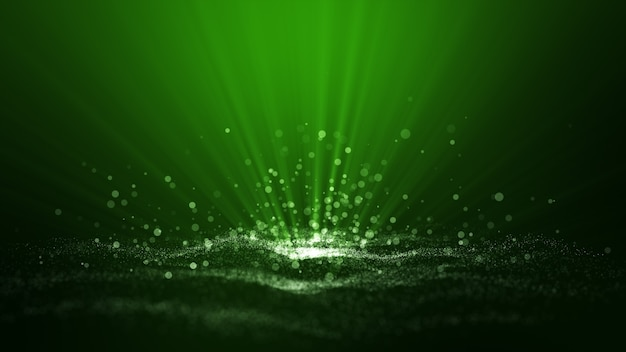 Green digital abstract background with wave particles, glow sparkles and space.
