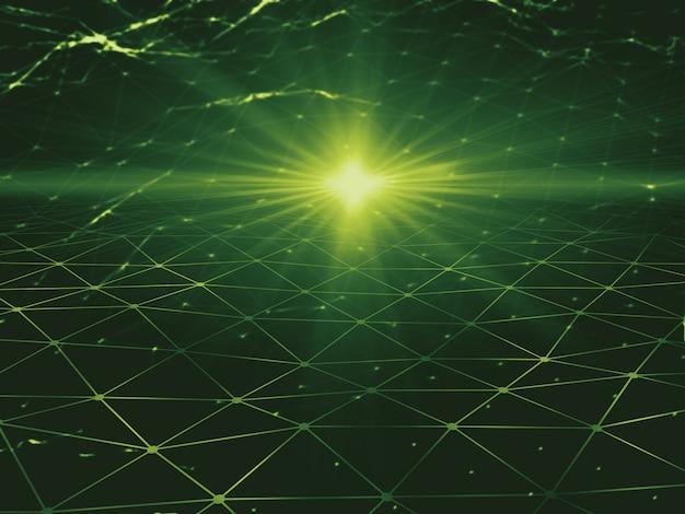 Зеленый цифровое пространство 3d иллюстрации низкополигональная фон абстрактного искусства