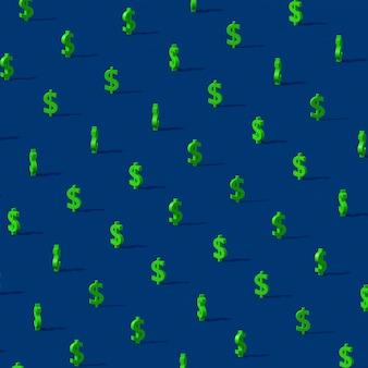 Зеленый знак доллара. абстрактная иллюстрация, 3d визуализация.