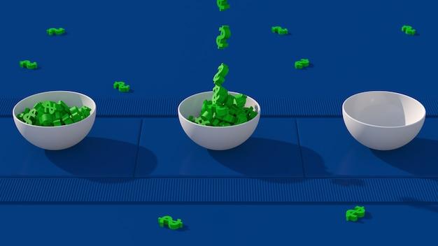 녹색 달러 기호 및 흰색 그릇입니다. 파란색 컨베이어. 급여 개념. 추상 애니메이션, 3d 렌더링.