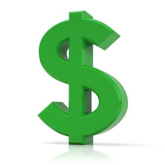 Зеленый знак доллара, изолированные на белом фоне