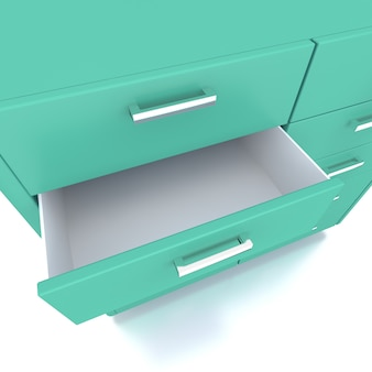 Green drawer of low cabinet . 3d rendering