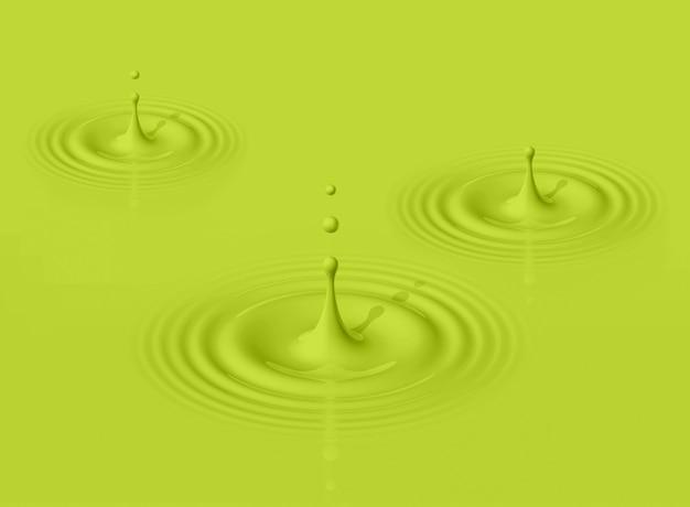 Green drops of avocado milk splashing and making ripple. 3d rendering
