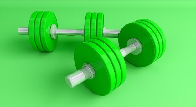 緑の背景のクローズアップ、3dイラストに緑のダンベル