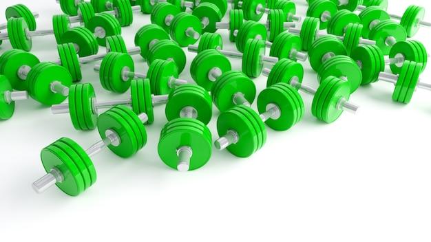 白い背景の上の緑のダンベルのクローズアップ、3dイラスト
