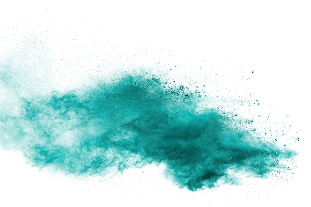Green dust particles explosion white background.